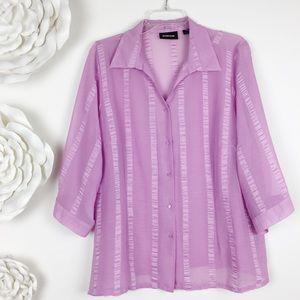 Avenue Plus Sz 18/20 Light Pink Semi-Sheer Blouse